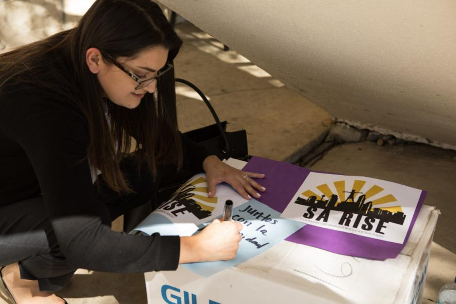 Viri Carrizales at SA RISE action in March, photo credit: Bonnie Arbittier/Rivard Report