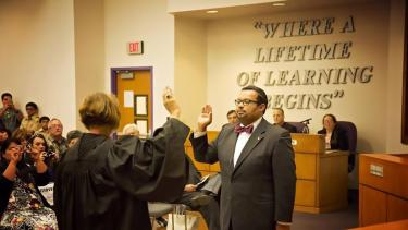 Michael Vargas being sworn in on May 18, 2015 as a Board Member for San Benito Consolidated Independent School District.